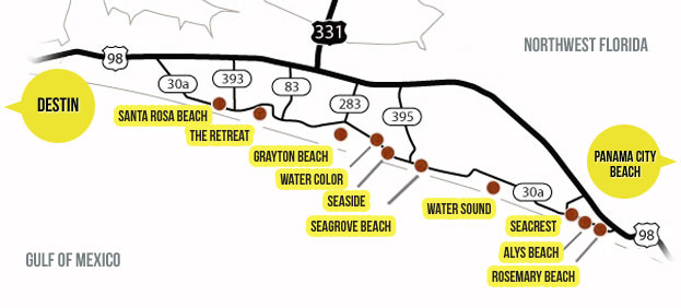 30A Area Info – Panama City Beach Tourist Map